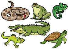 Grupo de ilustração dos desenhos animados do réptil ilustração royalty free