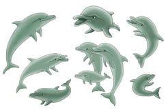 Grupo de ilustração dos golfinhos Imagens de Stock