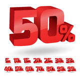 Grupo de ilustração dos por cento do disconto Fotos de Stock