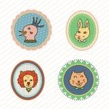 Grupo de ilustração engraçada do vetor dos crachás dos animais Imagem de Stock Royalty Free