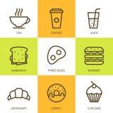 Grupo de ilustração lisa do alimento do vetor Ícones multicoloridos do café da manhã Foto de Stock Royalty Free