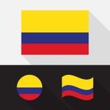 Grupo de ilustração lisa do projeto da bandeira de Colômbia Fotos de Stock