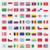 Grupo de ilustração lisa do projeto das bandeiras Fotos de Stock Royalty Free