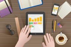 Grupo de ilustração lisa do projeto do vetor do escritório para negócios e do espaço de trabalho modernos Foto de Stock