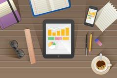 Grupo de ilustração lisa do projeto do vetor do escritório para negócios e do espaço de trabalho modernos Imagens de Stock