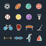 Grupo de ilustração lisa do projeto dos ícones do esporte Fotografia de Stock