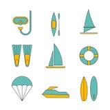 Grupo de ilustração lisa do projeto dos ícones do esporte de água Imagens de Stock Royalty Free