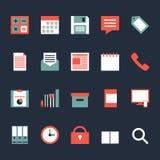 Grupo de ilustração lisa do projeto dos ícones do trabalho de escritório para negócios Imagem de Stock Royalty Free