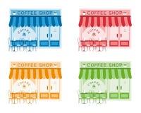 Grupo de ilustração lisa do vetor da fachada da casa do café 4 ilustração do vetor