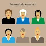 Grupo de ilustração lisa do vetor do projeto do retrato fêmea do ícone do perfil da mulher de negócios Fotos de Stock Royalty Free