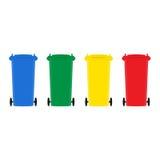 Grupo de ilustração lisa do vetor do projeto dos escaninhos de lixo Imagem de Stock Royalty Free