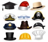 Grupo de ilustração profissional realística do vetor do chapéu 3D e do tampão Imagem de Stock Royalty Free