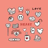 Grupo de ilustração tirada mão com smiley, doces do vetor da tatuagem do amor, copo, filhós, luz, bomba, bandeira, olho, cartão,  Fotos de Stock