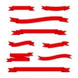 Grupo de ilustração vermelha do vetor das bandeiras da fita ilustração stock