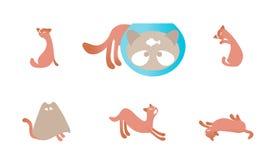 Grupo de ilustrações com gatos Imagem de Stock