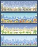 Grupo de ilustrações com paisagens urbanas Foto de Stock Royalty Free