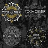 Grupo de ilustrações, de ícones e de logotipos no tema da ioga Imagens de Stock Royalty Free