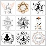 Grupo de ilustrações, de ícones e de logotipos no tema da ioga Blac Fotografia de Stock Royalty Free