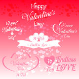 Grupo de ilustrações decorativas do dia de Valentim Fotos de Stock
