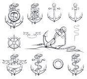 Grupo de ilustrações diferentes das âncoras Roda de direcção do `s do navio Bóia de vida Âncora tirada mão ilustração stock