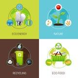 Grupo de ilustrações do conceito da ecologia Foto de Stock Royalty Free