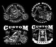 Grupo de 4 ilustrações do motociclista do vintage em background_3 escuro ilustração do vetor