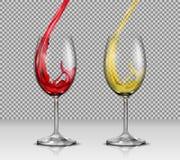 Grupo de ilustrações do vetor de vidros de vinho de vidro transparentes com branco e de vinho tinto que derrama neles Foto de Stock