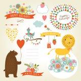 Grupo de ilustrações dos animais e de elementos gráficos  Foto de Stock Royalty Free