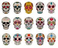 Grupo de ilustrações dos crânios do açúcar Dia inoperante Diâmetro De Los Muertos ilustração do vetor