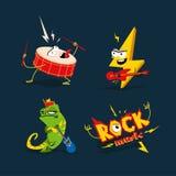 Grupo de 4 ilustrações dos desenhos animados no tema da rocha fotos de stock