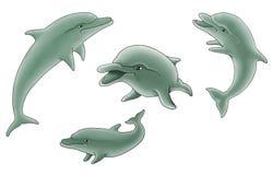 Grupo de ilustración de los delfínes Imagen de archivo libre de regalías