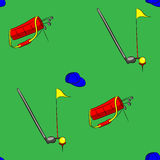 Grupo de ilustração do vetor do equipamento de golfe no fundo verde Imagens de Stock Royalty Free