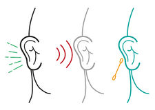 Grupo de ilustração humana da orelha no esboço Art Style Clipart editável Foto de Stock Royalty Free