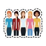 grupo de imagem bonita do ícone das mulheres ilustração stock