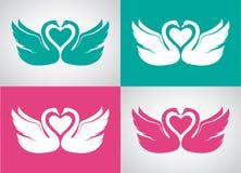Grupo de imagem do vetor de duas cisnes loving Imagem de Stock Royalty Free