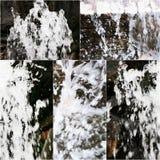 Grupo de imagens da cachoeira artifitial pequena Colagem da água de queda na fonte Fotos de Stock Royalty Free