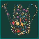 Grupo de imagens de ferramentas de jardim, cebolas dos vegetais, beterrabas, cenouras, folha Colocado sob a forma de molhar do ja Fotografia de Stock