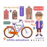 Grupo de imagens do vetor no tema de uma viagem em uma bicicleta, uma aventura pequena Imagem de Stock Royalty Free