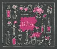 Grupo de imagens do vetor no tema do vinho Imagem de Stock Royalty Free
