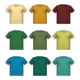 Grupo de impressão masculina colorida do desgaste do vetor dos t-shirt isolado ilustração royalty free