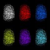 Grupo de impressões digitais da cor no fundo preto ilustração stock