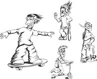Grupo de indivíduos adolescentes da atividade do campônio ilustração do vetor