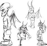 Grupo de indivíduos adolescentes do demônio do campônio ilustração do vetor