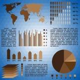 Grupo de Infographics de gráficos do mapa do mundo e da informação Imagens de Stock Royalty Free
