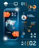 Grupo de Infographics e de tecnologia da informação gráficos Fotografia de Stock Royalty Free