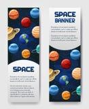 Grupo de inseto de 2 vetores, bandeira, brouchure com planetas Universo, galáxia, etiqueta cósmica do estilo ilustração do vetor