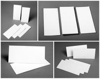 Grupo de insetos brancos vazios sobre o fundo cinzento Projeto da identidade Fotografia de Stock