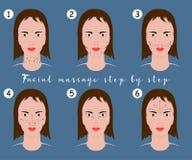 Grupo de instruções da massagem de cara no fundo azul Vector a ilustração de linhas da massagem na cara da mulher ilustração royalty free
