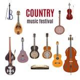 Grupo de instrumentos de música country, projeto liso do vetor Imagens de Stock
