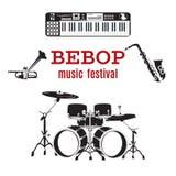 Grupo de instrumentos de música jazz do bebop, projeto liso do vetor Imagens de Stock